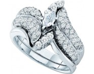 Ladies Marquise Two Piece Set 14K White Gold 1.01 cts. GD-39479