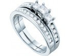 Ladies Two Piece Set 3-Stone 14K White Gold 1.00 ct. GD-39867