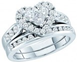 Ladies Heart Two Piece Set 14K White Gold 1.04 ct. GD-52553