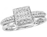 Diamond Bridal Ring Set 14K White Gold 0.52 cts. GD-44604