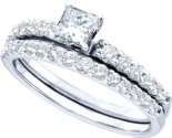 Diamond Bridal Ring Set 14K White Gold 1.00 ct. GD-47592