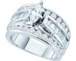Ladies Diamond Engagement Ring 14K White Gold GD-52379
