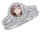 Champagne Diamond Bridal Ring Set 14K White Gold 1.23 cts. GD-66991