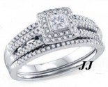 Diamond Bridal Ring Set 14K White Gold 0.52 cts. GD-69155