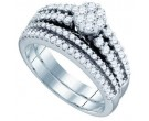Ladies Flower Two Piece Set 10K White Gold 0.97 cts. GD-72450