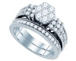 Ladies Flower Two Piece Set 10K White Gold 1.25 cts. GD-72455