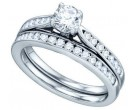 Ladies Round Two Piece Set 14K White Gold 0.97 cts. GD-74953