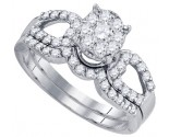 Ladies Two Piece Set 10K White Gold 0.77 cts. GD-76529