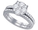 Diamond Bridal Ring Set 18K White Gold 1.00 ct. GD-76784