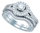 Diamond Bridal Ring Set 14K White Gold 0.99 cts. GD-81165