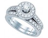 Diamond Bridal Ring Set 14K White Gold 0.96 cts. GD-81180