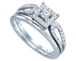 Ladies Bridal Two Piece Set 10K White Gold 0.26 cts. GD-81246
