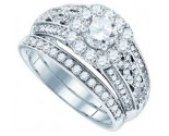 Diamond Bridal Ring Set 14K White Gold 1.50 cts. GD-83024