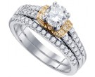 Diamond Bridal Ring Set 14K Two Tone Gold 1.21 cts. GD-83040