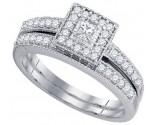Ladies Bridal Two Piece Set 10K White Gold 0.55 cts. GD-83299