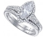 Diamond Bridal Ring Set 14K White Gold 2.42 cts. GD-84429
