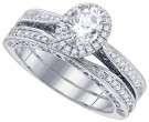 Diamond Bridal Ring Set 14K White Gold 1.45 cts. GD-84436