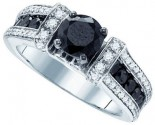 Black Diamond Bridal Ring 14K White Gold 2.35 cts. GD-84532