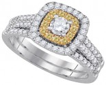 Diamond Bridal Ring Set 14K Two Tone Gold 1.00 ct. GD-86634