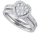 Diamond Bridal Ring Set 14K White Gold 0.77 cts. GD-86818