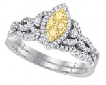 Diamond Bridal Ring Set 14K White Gold 0.51 cts. GD-87738
