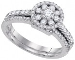 Diamond Bridal Ring Set 14K White Gold 0.76 cts. GD-88514