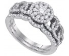 Diamond Bridal Ring Set 14K White Gold 0.76 cts. GD-88521