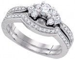 Diamond Bridal Ring Set 14K White Gold 0.62 cts. GD-88523