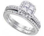 Diamond Bridal Ring Set 14K White Gold 0.76 cts. GD-88560