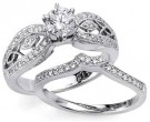 Ladies Two Piece Set 18K White Gold 0.90 cts. S2427A