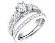 Ladies Two Piece Set 18K White Gold 0.95 cts. S50-4