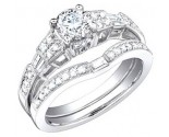 Ladies Two Piece Set 18K White Gold 1.28 cts. S50-7