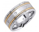 Diamond Wedding Band 14K Two Tone Gold 0.16 cts. DTTWB-2261A
