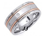 Diamond Wedding Band 14K Two Tone Gold 0.16 cts. DTTWB-2261B
