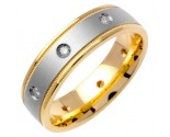 Diamond Wedding Band 14K Two Tone Gold 0.16 cts. DWB-2654