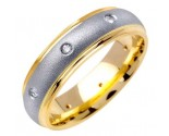 Diamond Wedding Band 14K Two Tone Gold 0.16 cts. DWB-2656