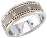 Diamond Wedding Band 14K Two Tone Gold 0.16 cts. DWB-2657