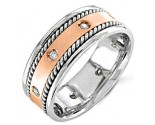 Diamond Wedding Band 14K Two Tone Gold 0.16 cts. DWB-2658