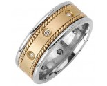 Diamond Wedding Band 14K Two Tone Gold 0.16 cts. DWB-2659
