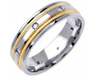 Diamond Wedding Band 14K Two Tone Gold 0.16 cts. DWB-2660