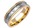 Diamond Wedding Band 14K Two Tone Gold 0.10 cts. DWB-2662