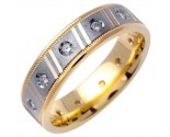 Diamond Wedding Band 14K Two Tone Gold 0.24 cts. DWB-2663