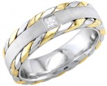 Diamond Wedding Band 14K Two Tone Gold 0.10 cts. DWB-2664