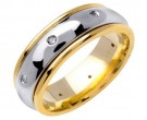 Diamond Wedding Band 14K Two Tone Gold 0.16 cts. DWB-2751