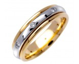 Diamond Wedding Band 14K Two Tone Gold 0.16 cts. DWB-2753