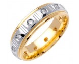 Diamond Wedding Band 14K Two Tone Gold 0.24 cts. DWB-2755