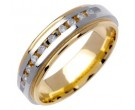 Diamond Wedding Band 14K Two Tone Gold 0.20 cts. DWB-2756