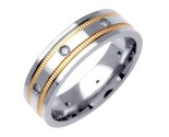 Diamond Wedding Band 14K Two Tone Gold 0.16 cts. DWB-2757