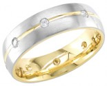 Diamond Wedding Band 14K Two Tone Gold 0.16 cts. DWB-2758