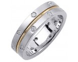 Diamond Wedding Band 14K Two Tone Gold 0.32 cts. DWB-2759